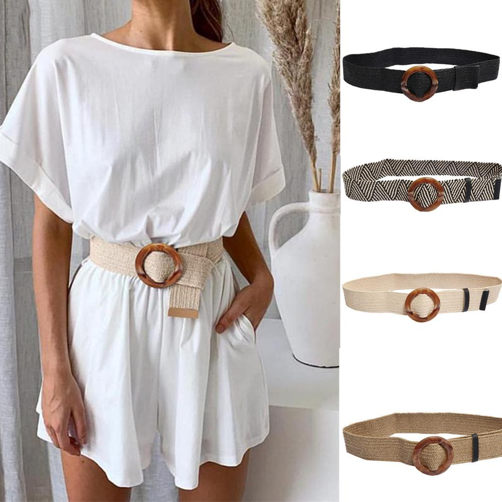 2019 New Bohemian wide   belt   for women Straw buckle   belt   decoration dress   belt   Casual female braided wide strap jade accessories