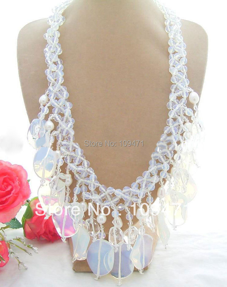 Beautiful! 3Strds Pearl&Opal&Crystal NecklaceBeautiful! 3Strds Pearl&Opal&Crystal Necklace