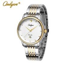 Onlyou marca de lujo de relojes para mujer para hombre de pulsera de cuarzo vestido de las señoras de acero reloj de oro plata reloj reloj masculino femenino 8865