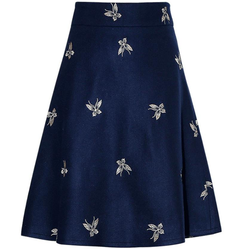 Jacquard Embroidery Woolen Skirt Female 2020 Autumn And Winter High Waist A Line Swing Women Skirt