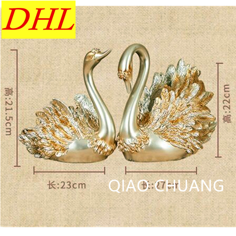 27CM Environmental Resin Europe Style Couples Swans One Pair/ 2 Pieces Arts Craft,Furnishings Living Room Decoration Gift S359
