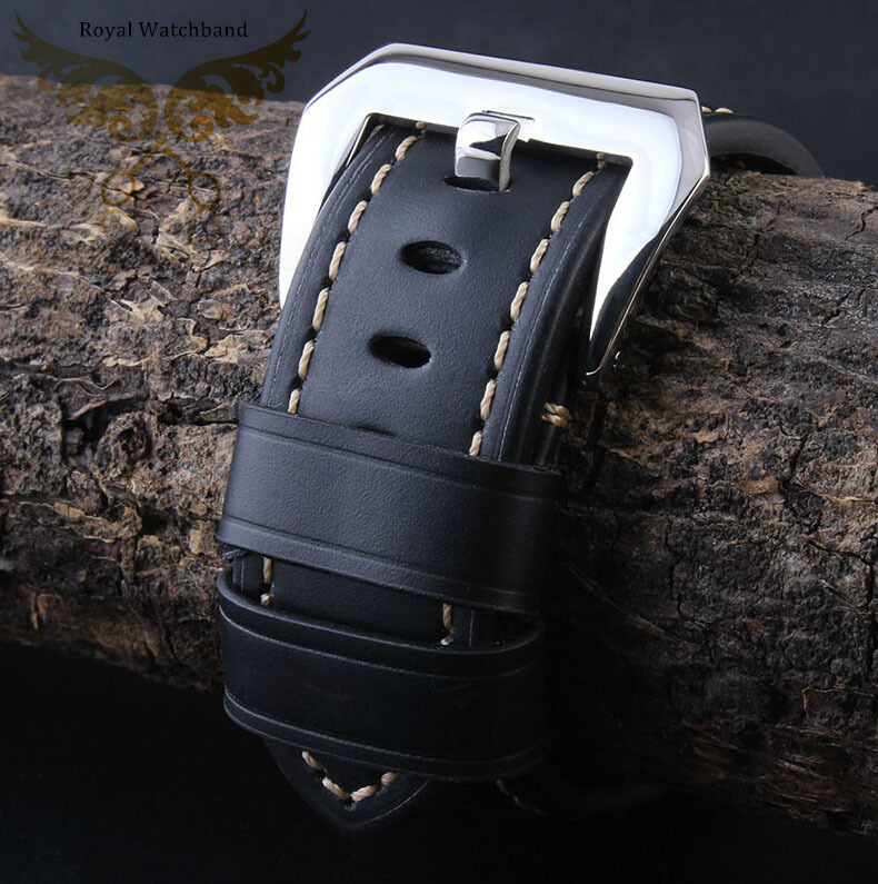 Free Shipping 24mm New High Quality Black Genuine Leather Watch Band Strap Polished Deployment Stainless Steel
