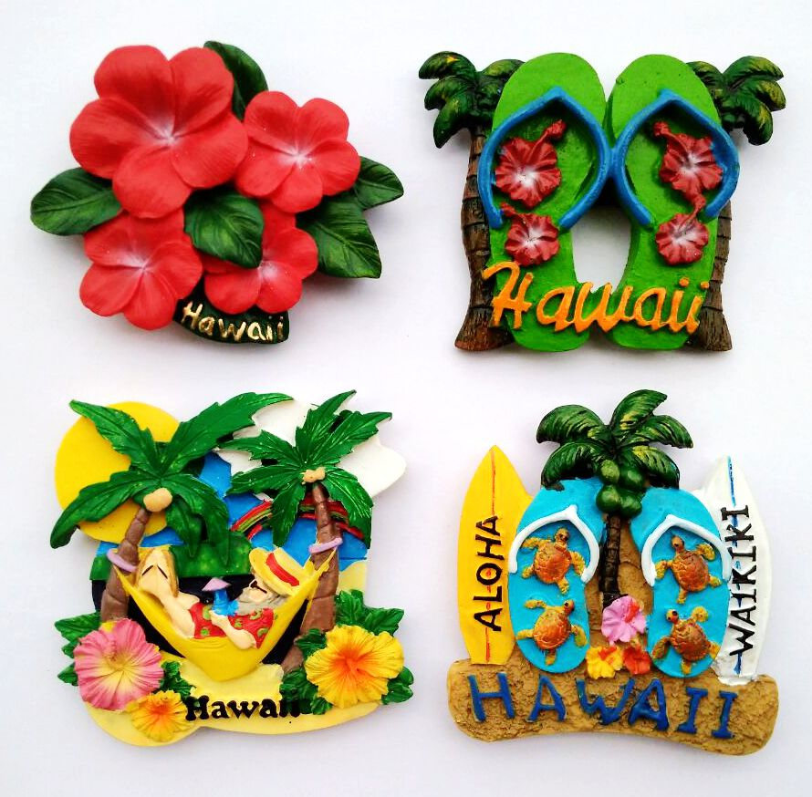 Handmade Painted Hawaii Surfboard Sandals Resin 3D Fridge Magnet Tourism Souvenirs Refrigerator Magnetic Stickers Home Decor
