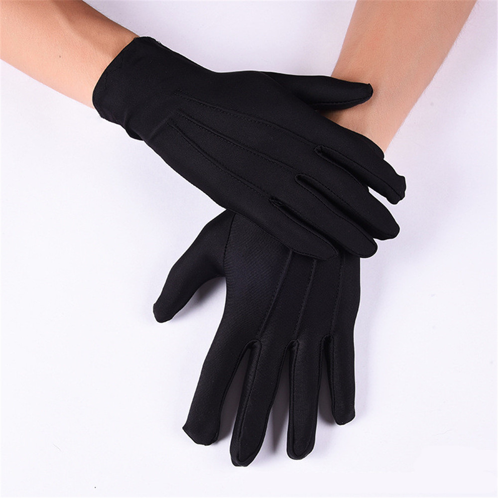 2pairs/lot High Quality Elastic Reinforce White Black Spandex Ceremonial Gloves For Male Female Waiters/drivers/jewelry/serving Back To Search Resultsapparel Accessories