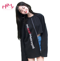 2017 Autumn Ulzzang College Style Irregular Long Sleeved T Shirt Letter Printing All Match Loose Top