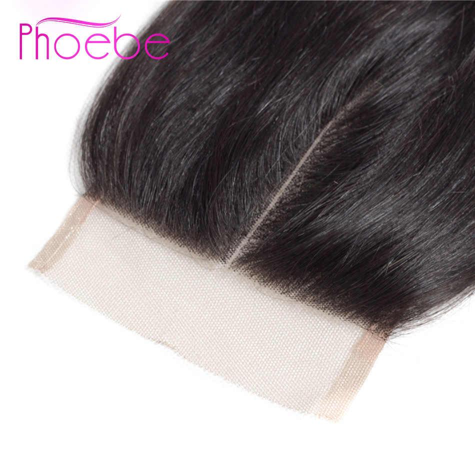 Phoebe волосы 100% человеческие волосы закрытие 8-22 дюймов малазийские прямые волосы 1 шт. кружевной чехол Бесплатная доставка не Реми натуральный цвет