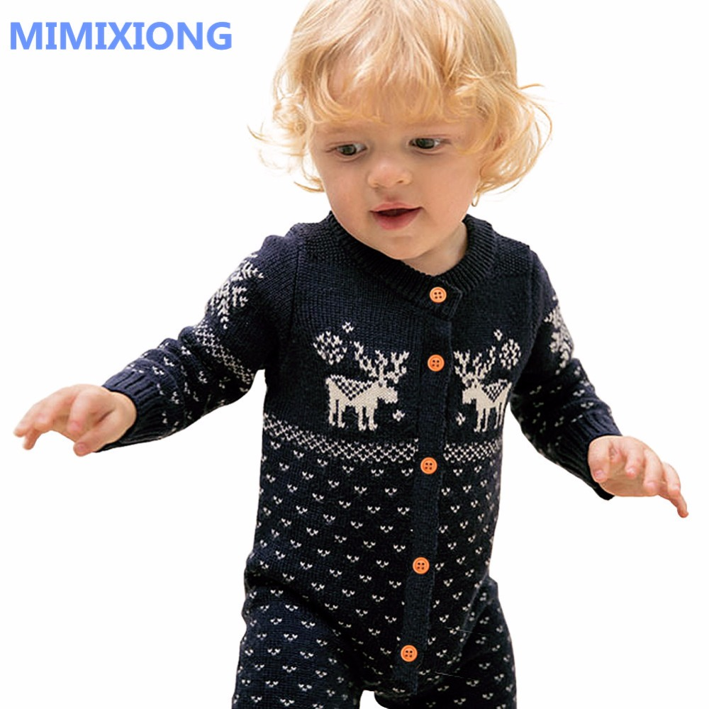 Baby Boys Rompers Winter Christmas Reindeer Knitted Jumpsuits For Newborn Girls Long Sleeve Overalls Fall Toddler Kids Playsuits new 2016 autumn winter rompers newborn baby clothes girls boys overalls kids knitted cotton christmas jumpsuits hats sets