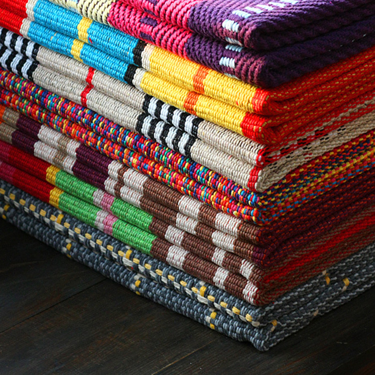Throw Rug Purpose: 100% Cotton Multicolour Stripe Multi Purpose Carpet