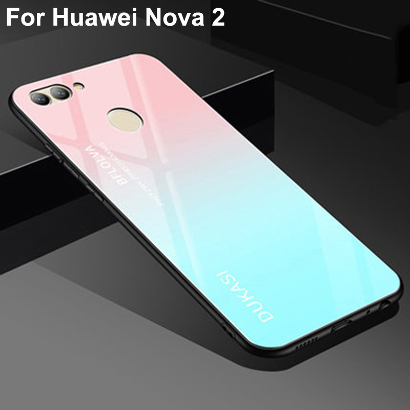 For Huawei Nova 2 Case Tempered Glass Luxury Gradient Soft Silicone Frame Back Cover 5.0'' For Huawei Nova2 PIC-AL00 Phone Cases