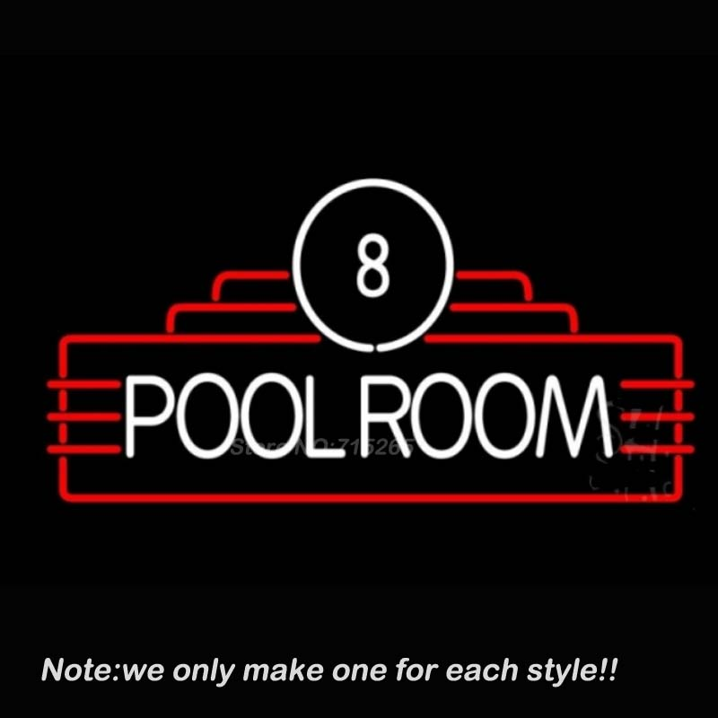 8 Pool Room Neon Sign Decorate Real Glass Tube Neon Bulbs Recreation Game Room Neon Sign Store Display Super Bright VD 17x14