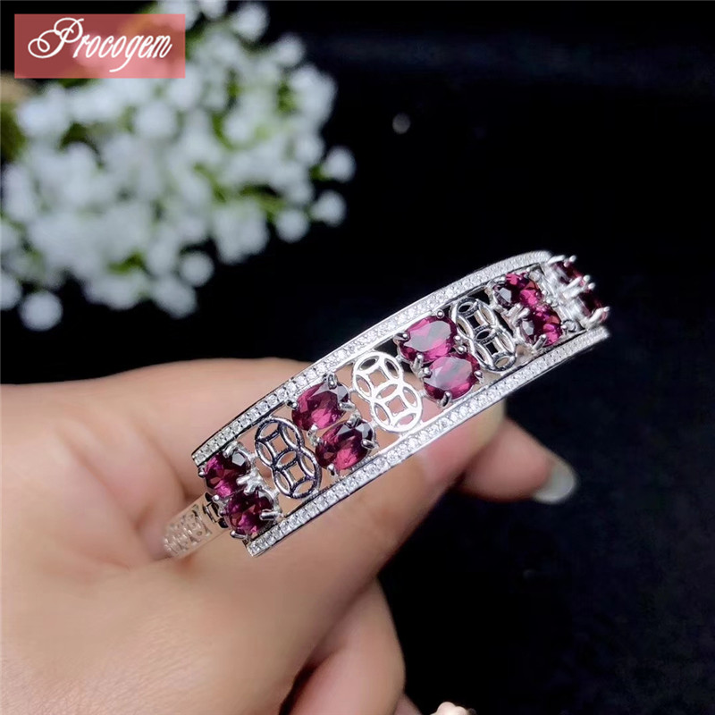 Natural Pyrope Garnet Bangles for Women Party Fine Jewelry gift 4x6mmx10pcs Genuine Gemstone S925 silver 18K gold plated #138Natural Pyrope Garnet Bangles for Women Party Fine Jewelry gift 4x6mmx10pcs Genuine Gemstone S925 silver 18K gold plated #138