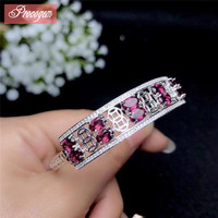 Natural Pyrope Garnet Bangles for Women Party Fine Jewelry gift 4x6mmx10pcs Genuine Gemstone S925 silver 18K gold plated #138