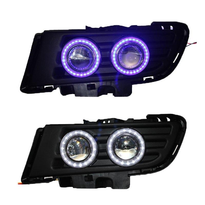 DRL COB (LED) angel eye ( 6 colors ) + projector lens + halogen fog lamp + black fog lamp holder for mazda 3 ownsun superb 55w halogen bulbs cob fog lights source angel eye bumper cover for mazda cx 5 2013 2015
