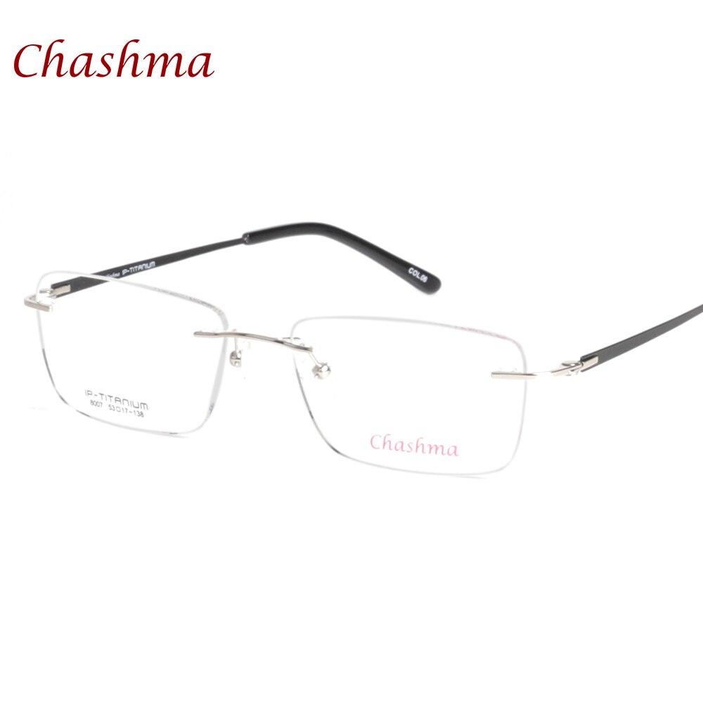 dc597d77fea5b Chashma Marca Eyewear armacao de para oculos de grau de Qualidade Superior  de Luz Sem Moldura Óculos de Armação de Titânio Puro Óculos Sem Aro Homens  em ...