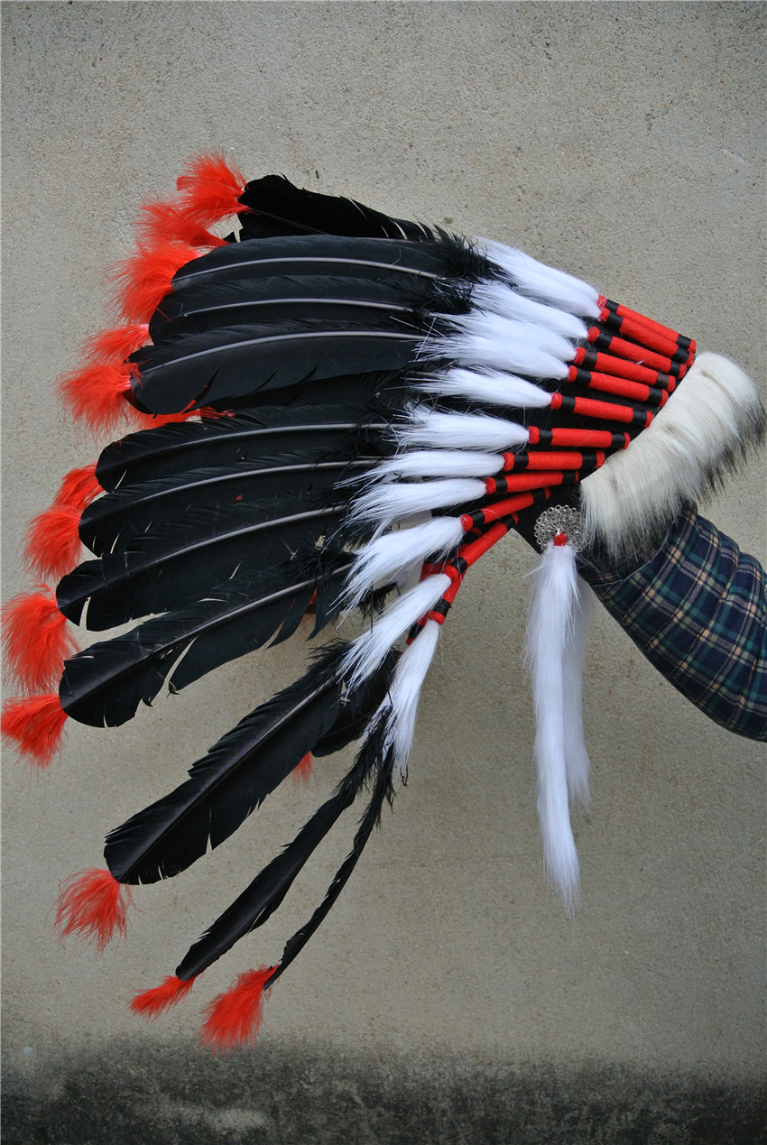 21inch Black feather headband halloween feather costume handmade feather hat headpiece
