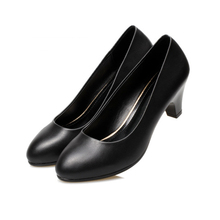 women shoes spring high heels black leather suit job interview single shoe round head thick heel with work wom