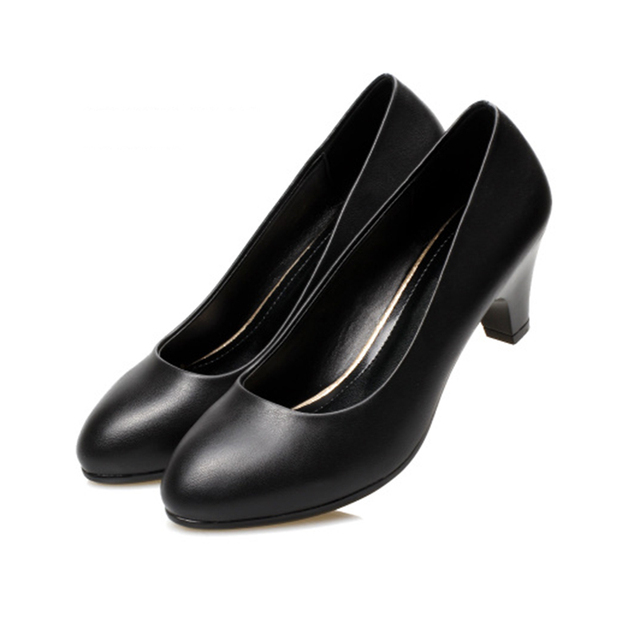 b9169a13a5a9 women shoes spring high heels black leather shoes suit job interview single  shoe round head thick