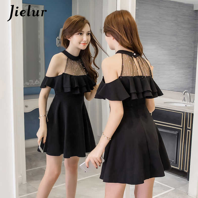 4de7d9f37c ... Jielur Elegant Off Shoulder Dress Summer S-XXL Korean Hipster Black  White Vestido Mujer Sexy ...