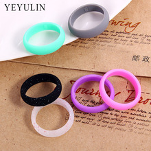 Hot Selling Environmental silicone Flexible Hypoallergenic 6 Color Ring for Women Sport Finger Jewelry 6pcs