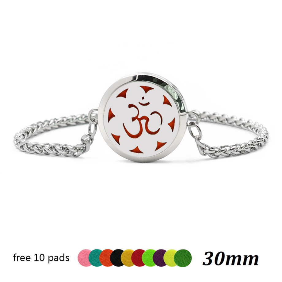 Yoga lotus blume Clover leaf 30mm Magnet//Twist Aroma Medaillon Kette Armband Diffusor medaillon Parfüm Medaillon 10 p freies Gelegentliche Pads