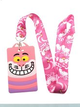 1 Pcs cartoon Alice in wonderland cats pink pvc Neck Straps ,Bus subway Lanyards ID Card,women Key chain kids party gifts(China)