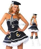 Halloween Sailor Kostüm Für Frauen Bühne Party-Spiel Kostüme 1227 Trägerlosen frauen Sexy Navy Blau Cosplay Kostüm