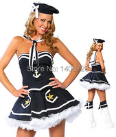 Halloween Sailor Costume For Women Stage Party Game Costumes 1227 Strapless Women's Sexy Navy Blue Cosplay Costume