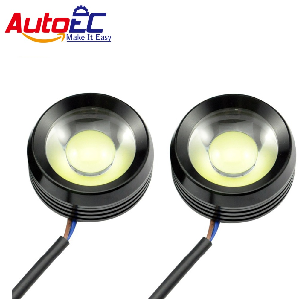 AutoEC Led DRL Eagle Eyes 2*6w 12W 6.0mm Super Bright COB Led Daytime Running Lights Fog Light Cow Eyes Waterproof White #LM25 merdia 10w 700lm 6000k cob eagle eyes white light foglight for motorcycle