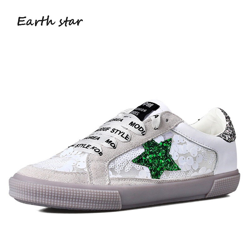 EARTH STRA 2018 New Shoes Women Fashion Brand Sneakers Lady Real Leather footware  Bling Female chaussure with star Breathable d0f53782e62b