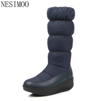 NESIMOO Size 35-43 2018 Winter Dames Schoenen Ronde Neus PU lederen Laarzen Vierkante Lage Hak Vrouw Schoenen Snowboots Zwart wit