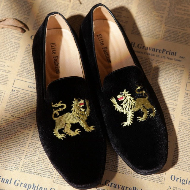 a15bb7756f7 men hot sale shoes casual animal motif black velvet loafers US size 6-13  Free Shipping