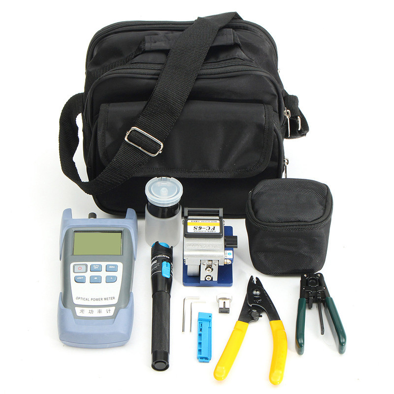 Network Pliers Wire Computer Tool Set Fiber Optic FTTH Hand Crimping Tool Kit Fiber Cleaver Optical Power Meter 1mW Visual