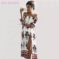 New fashion women dress spring summer print slash neck off shoulder bohemian beach casual long women split clothing,HH0113