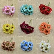 6 шт. / связка искусственные цветы шелковый цветок DIY гирлянды материалы вишневый букет головной убор украшения цветок