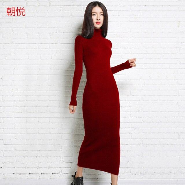 37ad9eb23be 2018 новое осенне-зимнее сексуальное длинное платье мягкое женственное с  длинным воротником кашемировый свитер женский