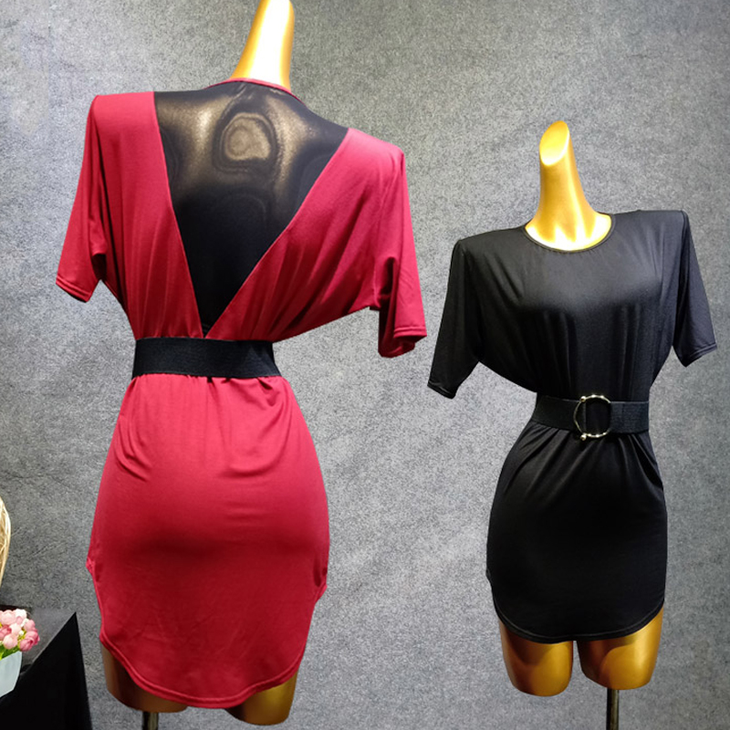 Latin Dance Top Women Black/Red Latin Tops Black Gauze Back Flamengo Dance Training Female Latin Dance Clothes Women VDB416