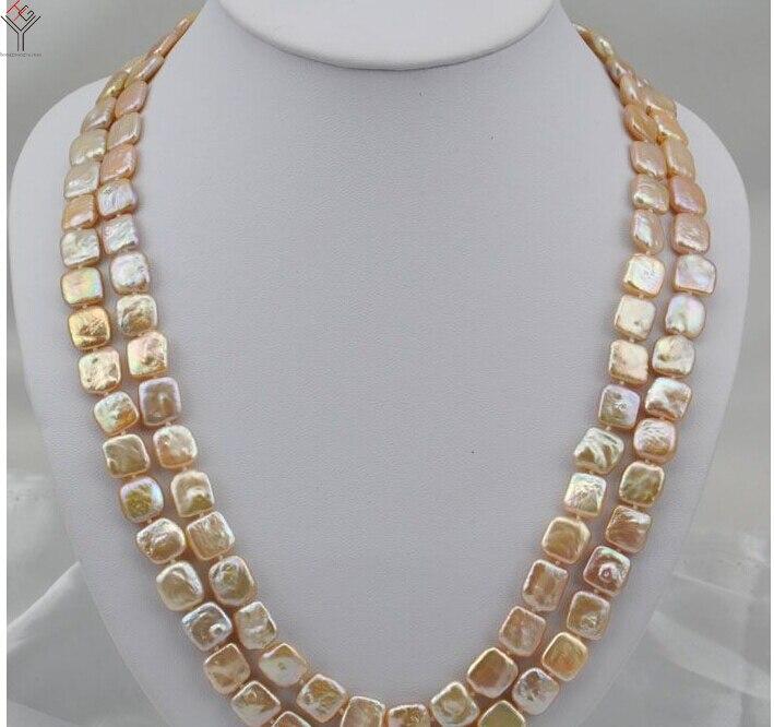 30 ''80 cm femmes bijoux 10x12mm collier de perles rose perle carré tranche perle fait à la main réel perle d'eau douce cadeau