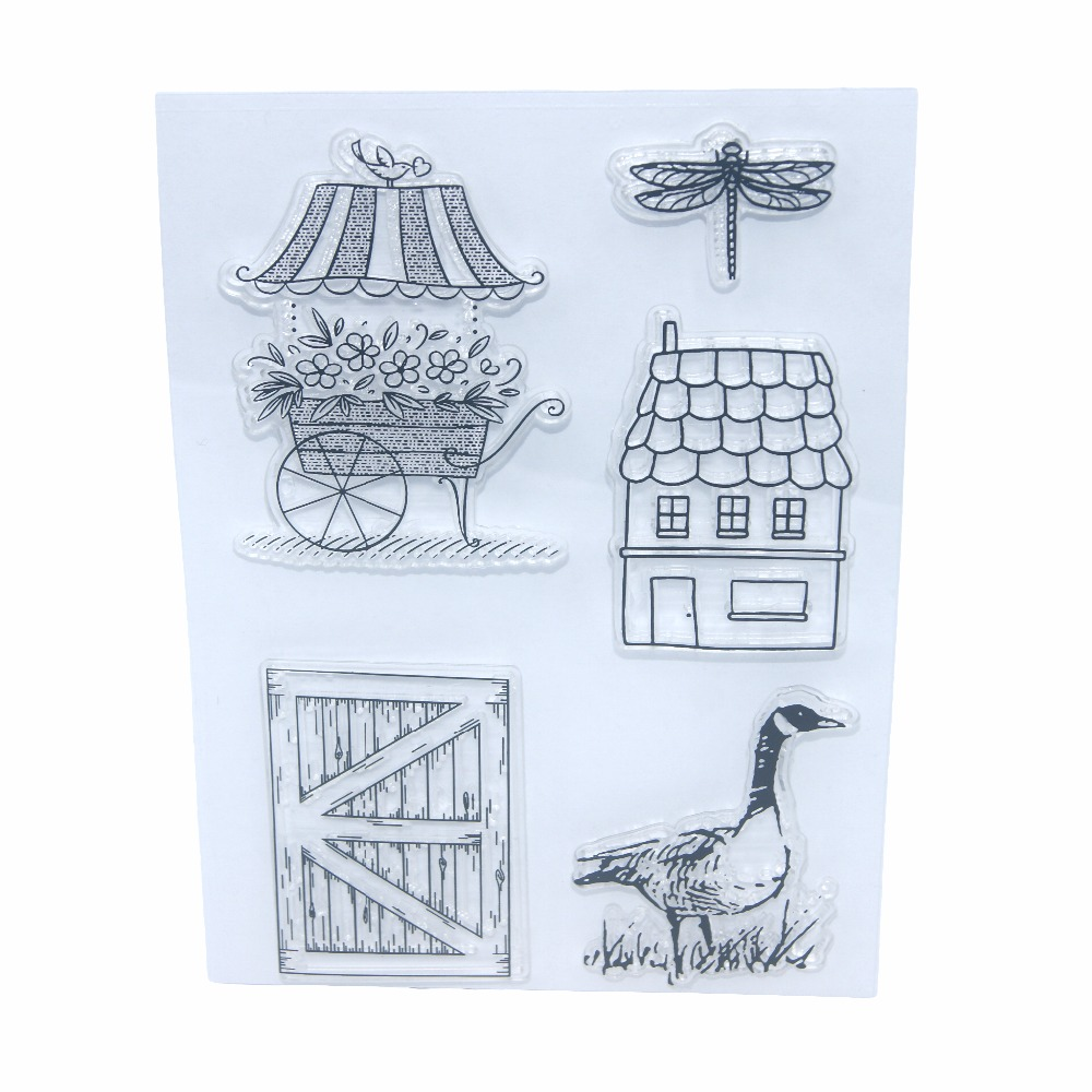 Flower House Duck Clear Clear Silicone Stamp / Seal para DIY Craft - Artes, artesanía y costura