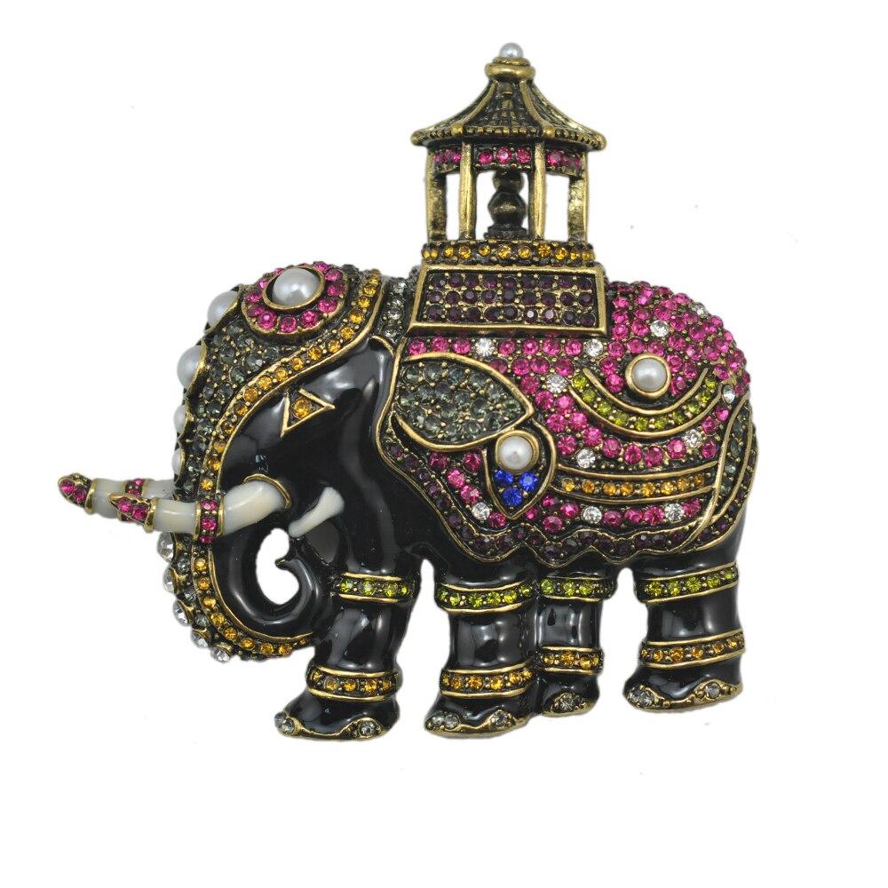Todo o Corpo Strass e Esmalte Luxo Elefante Broche Grande Vintage Broches Bijouterie Moda Jóias Acessórios