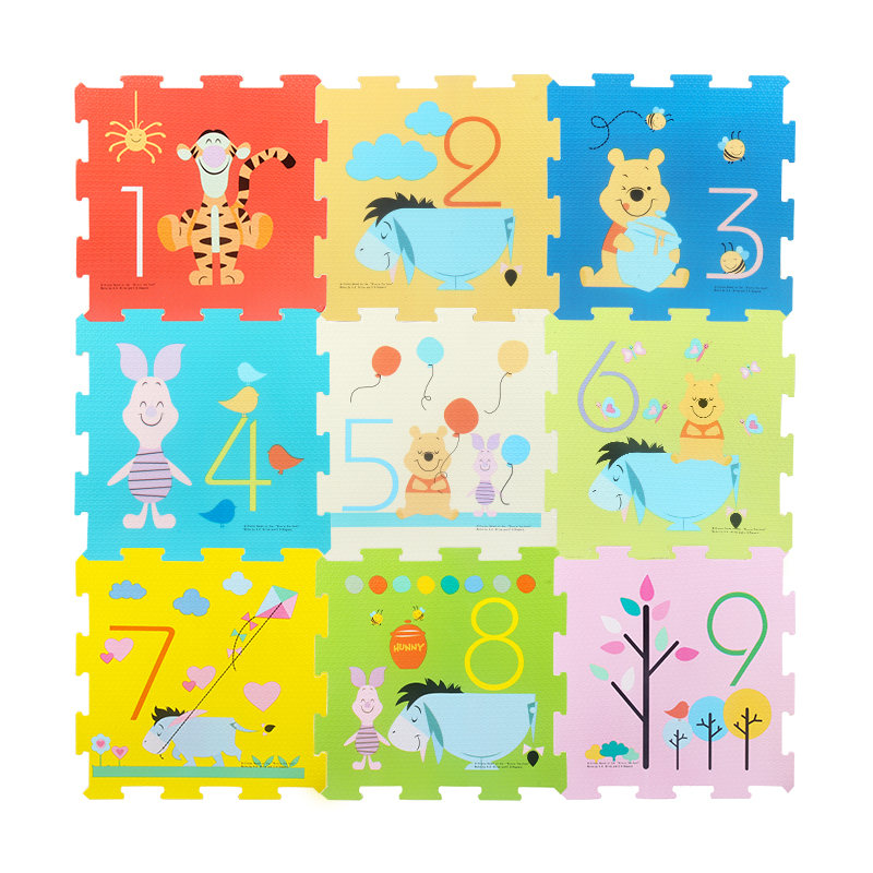 Winnie Car Cute Educational Soft EVA Floor Puzzles Crawling Play Mats Baby Toys For Boys Toddlers Gifts 9PCS 1cm Thick