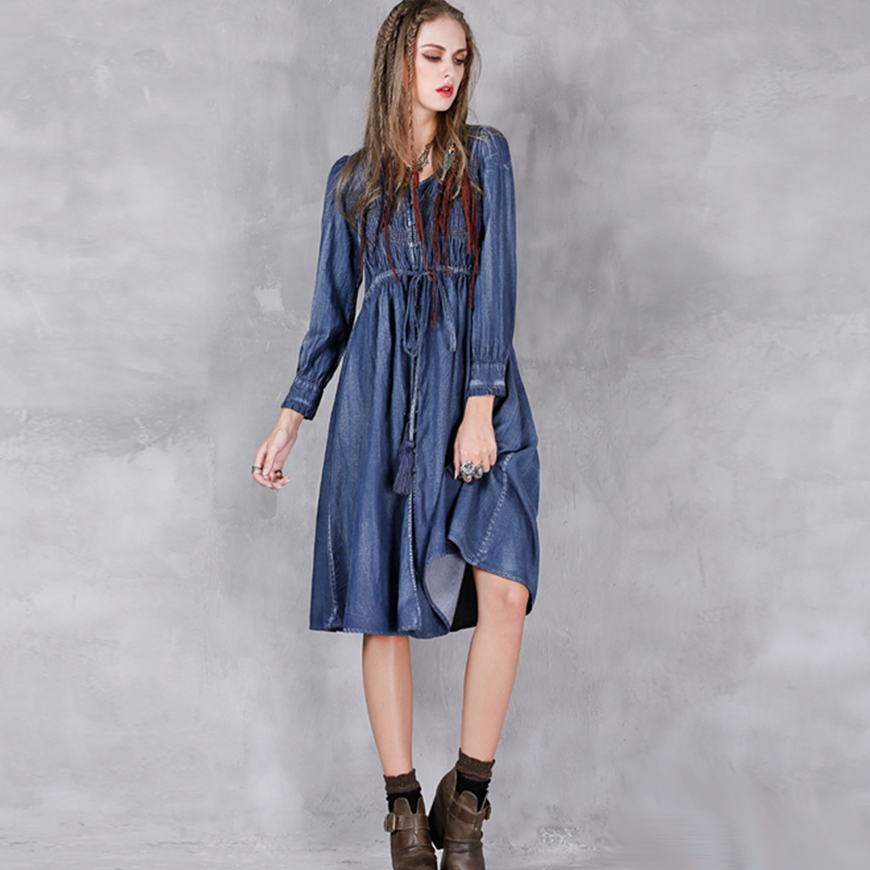 2017 Spring Autumn Denim Dress Women Single Breasted High Waist Jeans Vintage Dresses For Ladies #170355