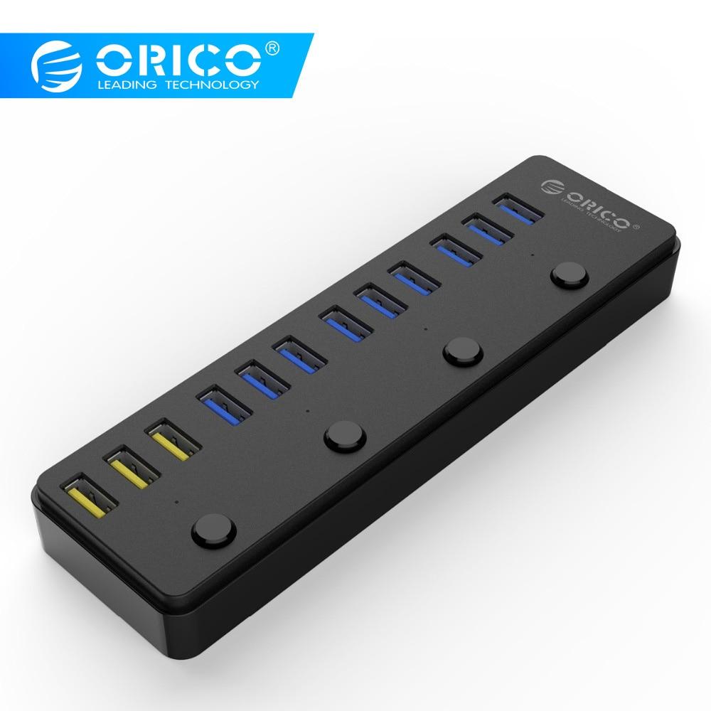 ORICO P12-U3 USB 3.0 HUB avec adaptateur secteur 12 V 5A 60 W 12 Ports avec 3 Ports de charge BC1.2 HUB de bureau multifonction 3.0