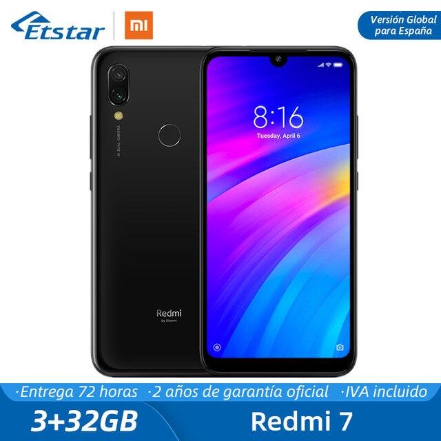 """Глобальная версия для Испании Xiaomi Redmi 7 3 ГБ ОЗУ 32 жесткий Гб ПЗУ телефон мобильный Восьмиядерный 12MP 6,26 """"Dual SIM 4000 мАч MIUI 10"""