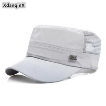 XdanqinX Mens Flat Cap Fashion Mesh Breathable Army Military Hats Snapback  Adjustable Size Summer Simple Sports Caps