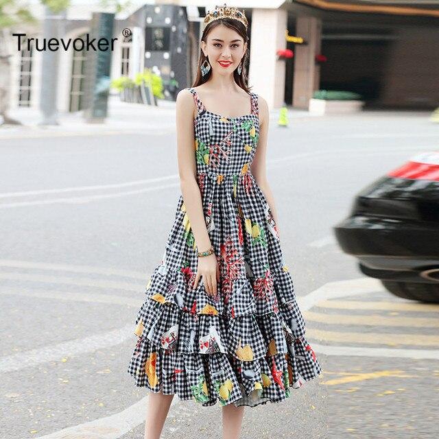 Truevoker Summer Designer Dress Women s High Quality Cute Princess Plaid  Printed Ruffle Layer Midi Spaghetti Strap Dress a79d9bb84265