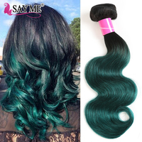Ombre 1B Green Brazilian Hair Weave Bundles 1 / 3 / 4 Pieces Body Wave Human Hair Extensions Two Tones Dark Roots Remy