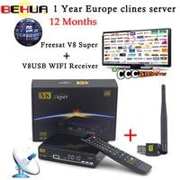 1 Year CCCAM Europe Cline Freesat V8 Super DVB S2 FTA Satellite Receiver Full HD Support