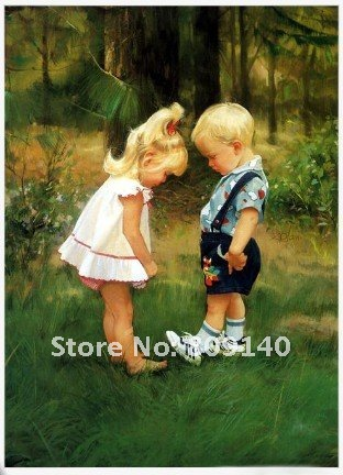 oil painting canvas Baby Girl & Boy Cuties Portrait high