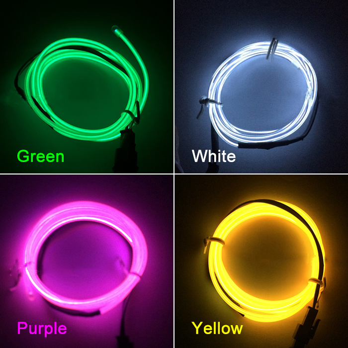 Hottest 1M Flexible Cool Light Glow LED EL Wire Tape Rope Strip Car ...