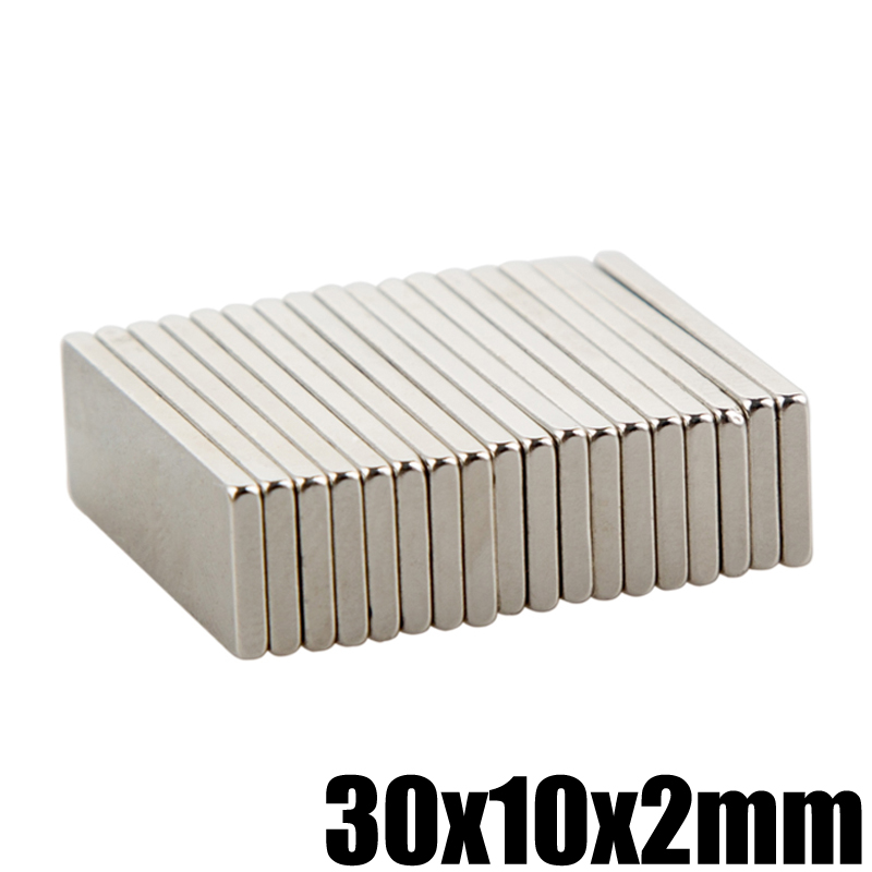 20Pcs 30x10x2mm Super Strong Powerful Neodymium Magnet Block Permanent N35 NdFeB Small Magnetic Magnets Square 5 x 1 9mm cylindrical ndfeb magnet silver 20pcs